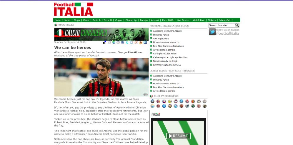 Write up on Arsenal Legends v AC Milan Legends